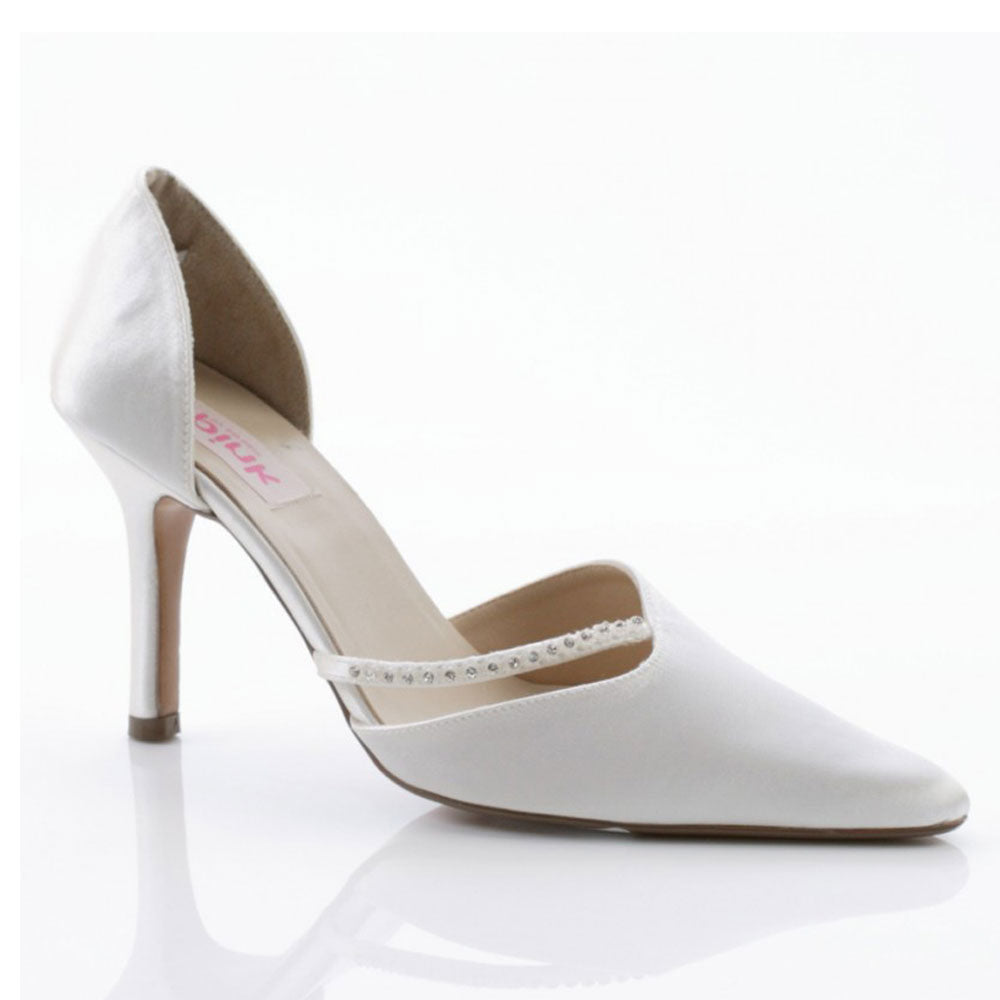 Paradise White Satin Wedding Court Shoe