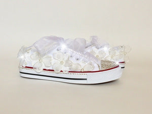 Ladies White Wedding Pumps with Crystals, Organza Flowers & Organza Laces
