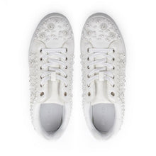 Load image into Gallery viewer, Zarina - White Crystal Encrusted Trainers by Paradox London