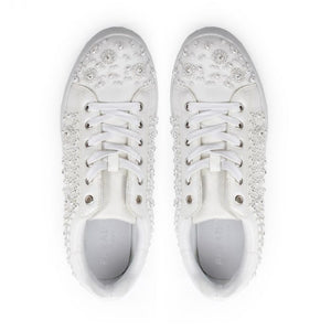 Zarina - White Crystal Encrusted Trainers by Paradox London