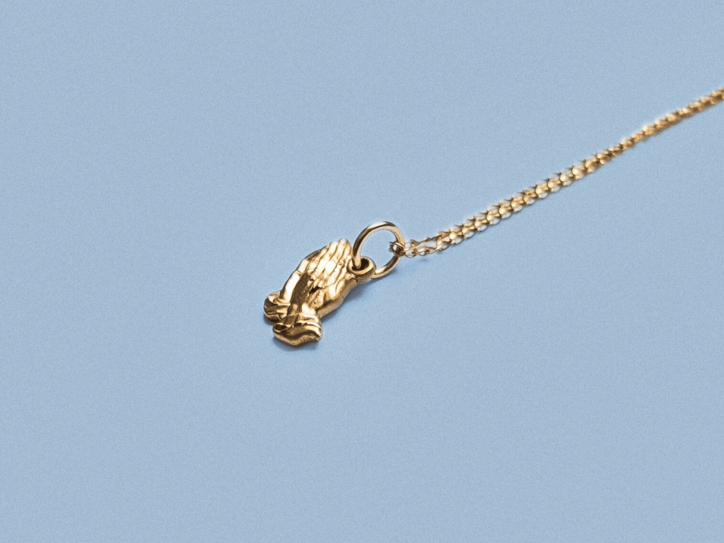 Praying Hands Gold Necklace