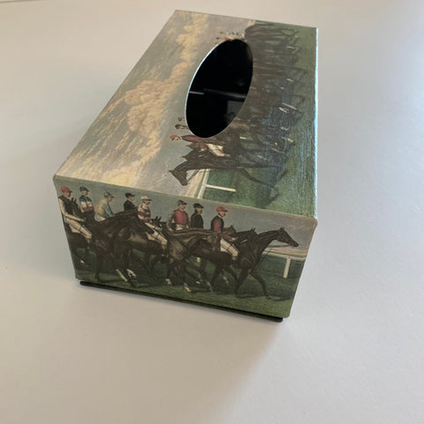 Decorative tissue box stainless steel 5 sided decoupage racehorse
