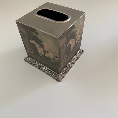 Decorative Tissue Holder (Pewter 4 sides decoupaged)