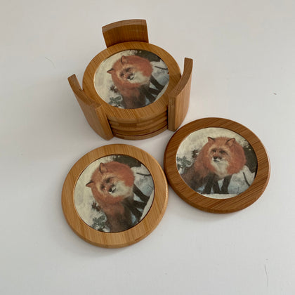 Wooden Fox Coasters