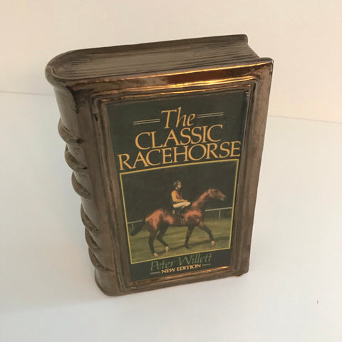 """The Classic Racehorse"" ceramic copper tone book"