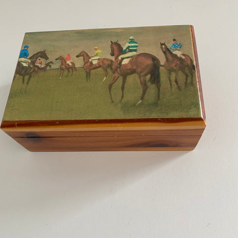 Racehorse Wood Trinket Box