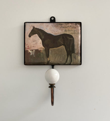 Ceramic and metal wall hook