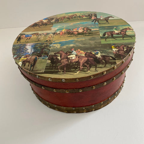 Vintage Racehorse Hat Box
