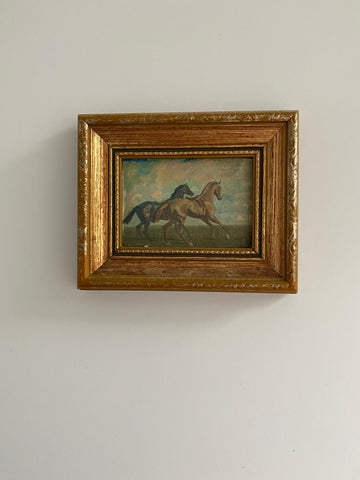 Small gold framed free horses