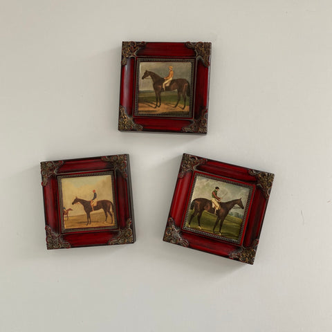 3 Framed racehorses - jockeys up