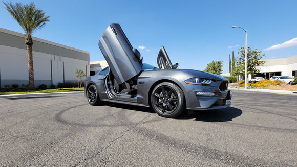 Check out Mark's @mustangmark_5.0 Ford Mustang from California featuring Vertical Lambo Doors Conversion Kit from Vertical Doors, Inc.