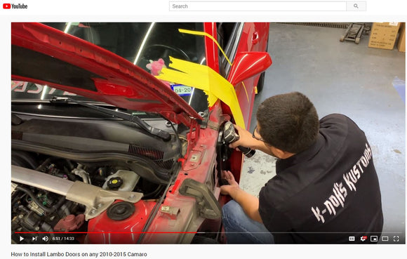 Installer | Kanoh's Lambos | YouTube Channel | Installation of a Vertical Doors, Inc. kit on a Chevy Camaro by K-Noh's Kustoms