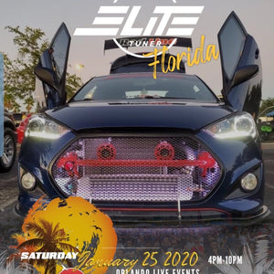 1/25/20 Car Show | Elite Tuner Florida | Come check out Jose's Hyundai Veloster featuring Vertical Doors, Inc., vertical lambo door conversion kit.