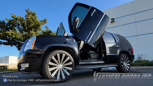 Check out Larry's FB @larry.zuniga.1481 Cadillac Escalade from California featuring Vertical Lambo Doors Conversion Kit from Vertical Doors, Inc.
