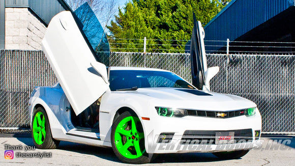 Installer | Mad Creations ATL | Longanville, GA | Chevrolet Camaro featuring Verical Doors, Inc. vertical lambo door conversion kit.