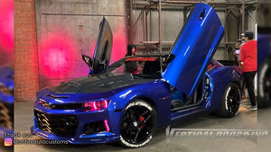 Installer | On Fire Auto Customs| Los Angeles CA | (Blue Demon) 2014 Camaro RS with Vertical Lambo Doors Conversion Kit