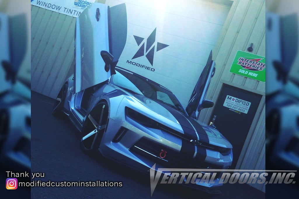 Installer | Modified Custom Installations | Greece, NY | Chevrolet Camaro featuring Verical Doors, Inc. vertical lambo door conversion kit.