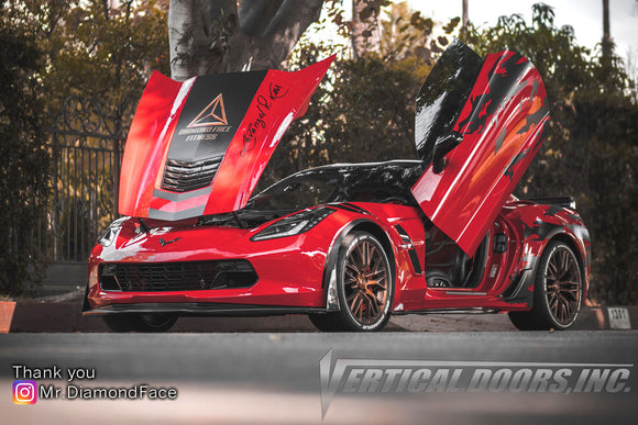 Lavanzel's badass Chevrolet Corvette C7 Grand Sport featuring Vertical Doors, Inc., vertical lambo doors conversion kit.