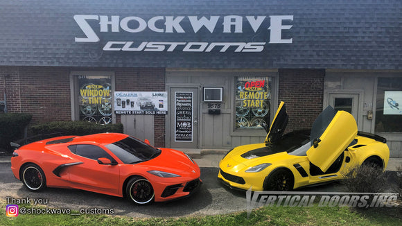 Installer | Shockwave Customs | Frankfort, IL | Chevrolet Corvette C7 Vertical Doors, Inc., vertical lambo door conversion kit.