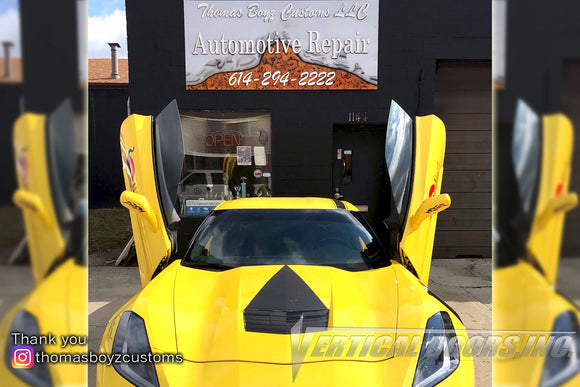 Installer | Thomas Boyz Customs | Columbus, OH | Chevrolet Corvette C7 Vertical Doors, Inc., vertical lambo door conversion kit.