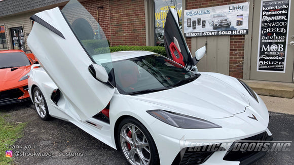 Installer | Shockwave Customs | Frankfort, IL | Chevrolet Corvette C8 Vertical Doors, Inc., vertical lambo door conversion kit.