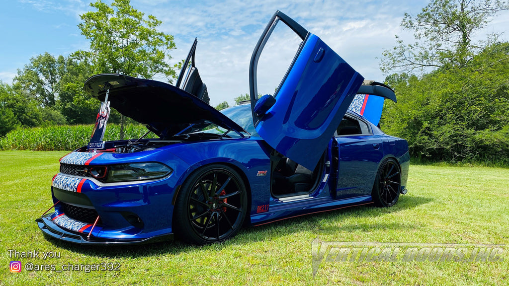 Check out Vicente's @ares_charger392 Dodge Charger from North Carolina featuring Vertical Doors, Inc., vertical lambo doors conversion kit.