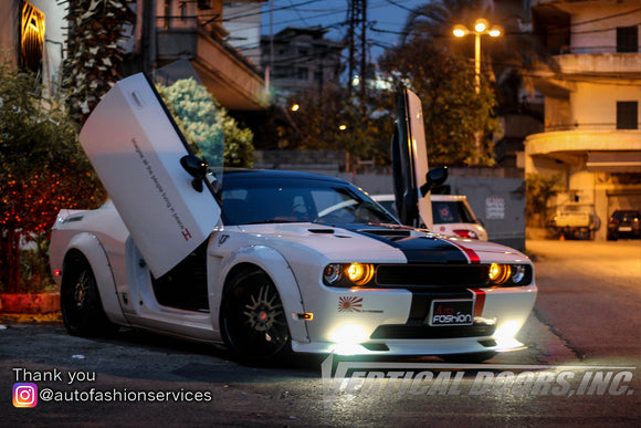Installer | Auto Fashion Services | Beirut, Lebanon | Dodge Challenger featuring Vertical Doors, Inc. vertical lambo door conversion kit.