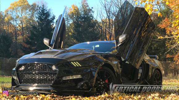Check out Curtis @carbonpanth3r Ford Mustang 6thGen from Ohio featuring Vertical Lambo Doors Conversion Kit from Vertical Doors, Inc.