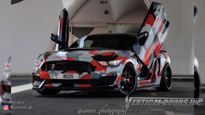 Check out Junaid's @junaid_gt Ford Mustang from Dubai, UAE featuring Vertical Lambo Doors Conversion Kit from Vertical Doors, Inc.