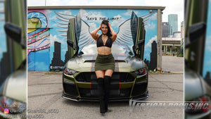 Check out Riley @riley.s550 modeling in a Ford Mustang from Texas featuring Vertical Lambo Doors Conversion Kit from Vertical Doors, Inc.