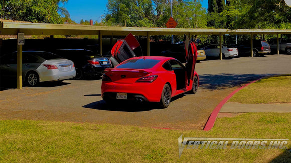 Alex's Hyundai Genesis Coupe from California featuring Vertical Doors, Inc., vertical lambo doors conversion kit.
