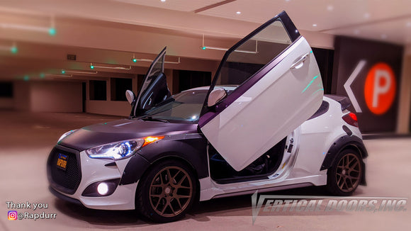 vCheck out Roberto's @Rapdurr Hyundai Veloster from California featuring Vertical Lambo Doors Conversion Kits from Vertical Doors, Inc.