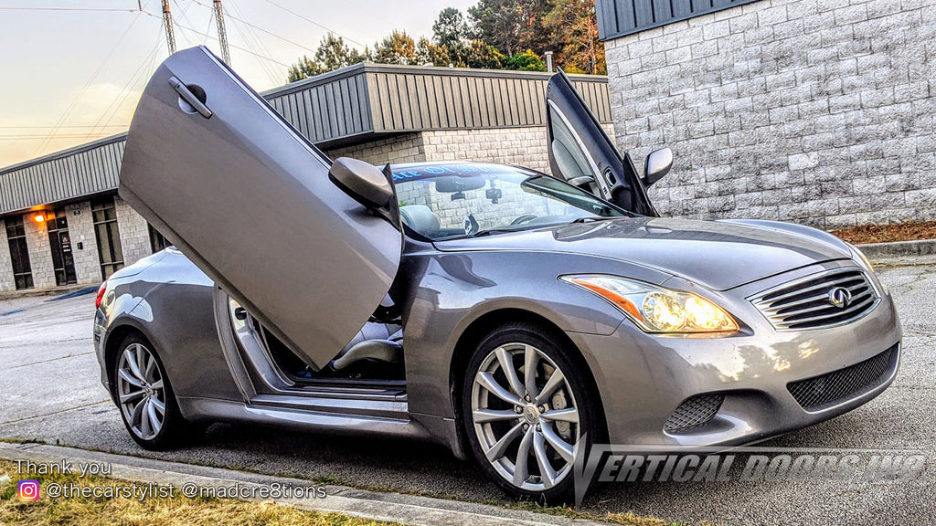 Installer | Mad Creations | Loganville, GA | Infiniti G37 Vertical Doors, Inc., vertical lambo door conversion kit.