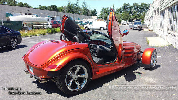Installer | NewGen Customs| Holbrook, NY | Plymouth Prowler with Vertical Lambo Doors Conversion Kit for Vertical Doors, Inc.