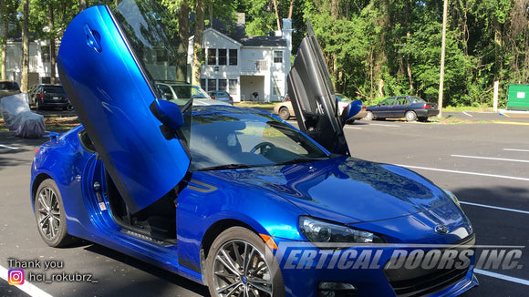 Check out Aimee's Subary BRZ featuring Vertical Doors, Inc., vertical lambo door conversion kit.