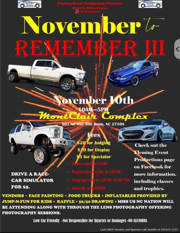 11/10/19 Car Show | 3rd Annual November to Remember | Come check out Franklin's Ford Excursion