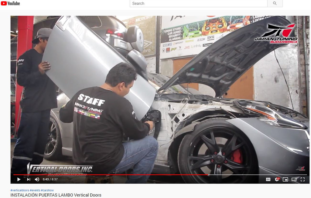 JAPAN TUNING SUDAMERICA PE | YouTube Channel | Installation on Nissan 370Z of a Vertical Doors, Inc., vertical lambo doors conversion kit.