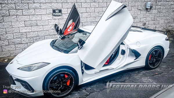 Installer | Mad Creations | Loganville, GA | Chevrolet Corvette C8 Vertical Doors, Inc., vertical lambo door conversion kit.