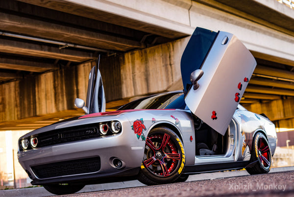 the_bulking_beast Dodge Challenger Featuring Vertical Doors, Inc., vertical lambo doors conversion kit.
