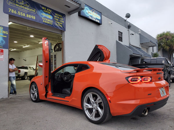 Installer | Pro Auto Sound Miami | Miami, FL | Chevrolet Corvette C-7 featuring Verical Doors, Inc. ZLR door conversion kit.