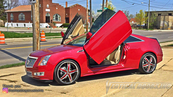 Installer | Thomas Boyz Customs | Columbus, OH | Cadillac CTS featuring Verical Doors, Inc. vertical lambo doors conversion kit.