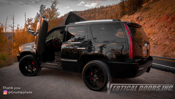 Check out Justin's @Grumpylade Cadillac Escalade from United States Virgin Islands featuring Vertical Lambo Doors Conversion Kit from Vertical Doors, Inc.