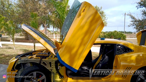 Check out Curtis @1badbeecamaro Chevrolet Camaro from Florida featuring Vertical Doors, Inc., vertical lambo doors conversion kit.