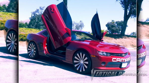 Check out Dontel's Chevrolet Camaro from California featuring Vertical Doors, Inc. vertical lambo door conversion kit.