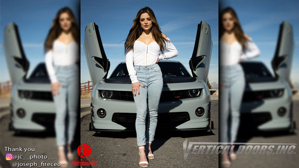 Check out @jc__photo__ Photograpy of Model @taylahtaylorr and @modify_muscle_007 Chevrolet Camaro from Utah featuring Vertical Lambo Doors Conversion Kit from Vertical Doors, Inc.