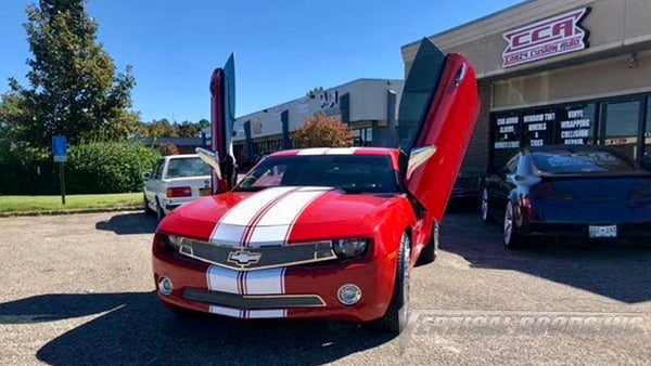 Installer | Crazy Custom Auto | Memphis, TN | Chevrolet Camaro 5th Gen featuring Verical Doors, Inc. vertical lambo doors conversion kit.