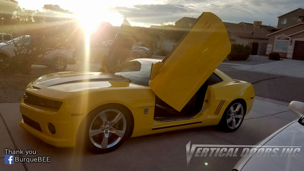 Check out Michael's Chevrolet Camaro from New Mexico featuring Vertical Doors, Inc. vertical lambo doors conversion kit.