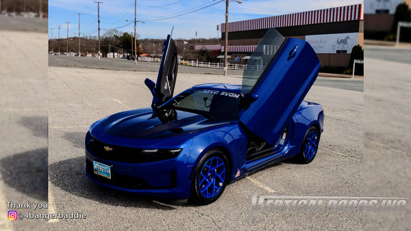 Check out Ellie's @4bangerbaddie Chevy Camaro featuring Vertical Lambo Doors Conversion Kit from Vertical Doors, Inc.