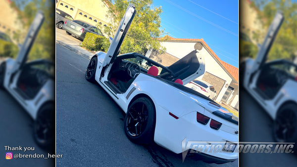 Check out Brendon @brendon_heier Chevrolet Camaro from California featuring Vertical Lambo Doors Conversion Kit by Vertical Doors, Inc.