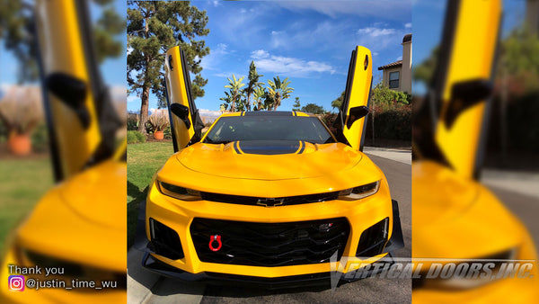 Check out Justin's 6th Gen Chevrolet Camaro from @HealingLittleHeroesFoundation California with Vertical Lambo Doors Conversion Kit for Vertical Doors, Inc.